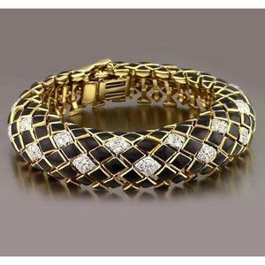 Jewelry - Black Yellow Gold Diamond Bracelet 4.80 Carats Jew